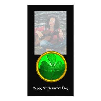 ST PATRICK'S DAY GREEN SHAMROCK GEMSTONE JEWEL PHOTO CARD TEMPLATE