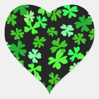 St. Patrick's Day Green Shamrock Heart Sticker