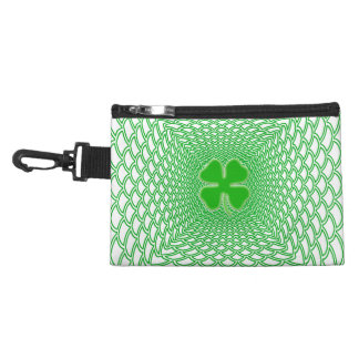 St Patrick's Day Green Shamrock on Mesh Background Accessory Bags