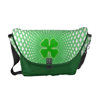 St Patrick's Day Green Shamrock on Mesh Background Commuter Bags