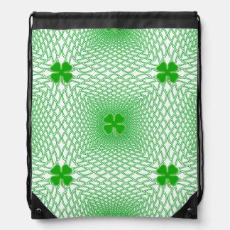 St Patrick's Day Green Shamrock on Mesh Background Drawstring Backpack
