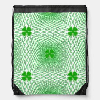 St Patrick's Day Green Shamrock on Mesh Background Drawstring Backpack