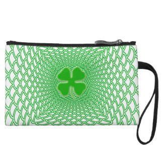 St Patrick's Day Green Shamrock on Mesh Background Wristlet Clutches