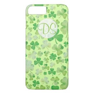 St Patricks Day Green Watercolour Shamrock Pattern iPhone 8 Plus/7 Plus Case