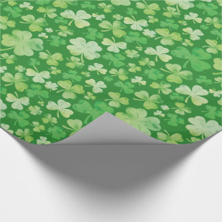 St Patricks Day Green Watercolour Shamrock Pattern Wrapping Paper