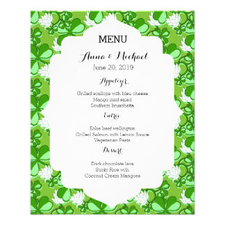 St. Patrick's Day Green Wedding Menu Full Color Flyer