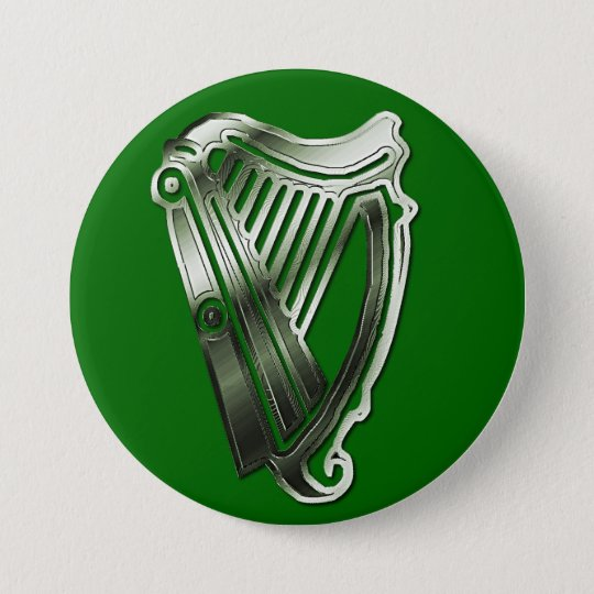 St Patrick's Day Harp of Ireland Button Name