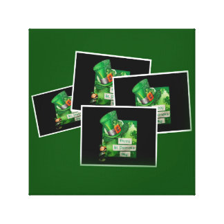 St. Patrick's Day Hat and Leprechaun Gallery Wrapped Canvas