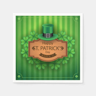 St. Patrick's Day - Hat & Clovers Paper Napkins