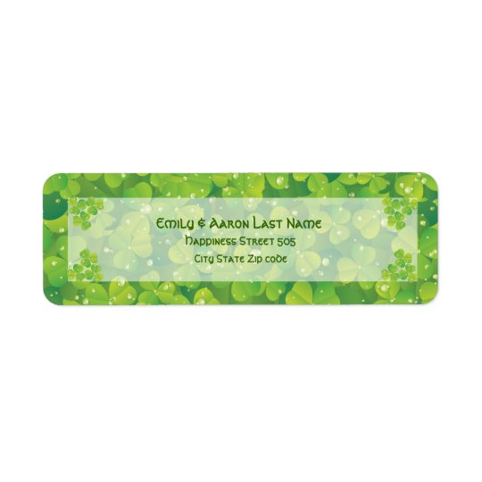 St. Patrick's Day Irish clover wedding label