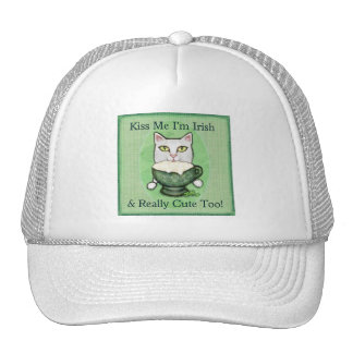 St. Patrick's Day Irish Coffee Cat Trucker Hat