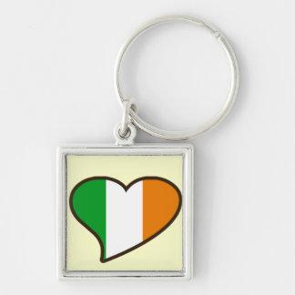 St patricks day Irish Flag Silver-Colored Square Key Ring