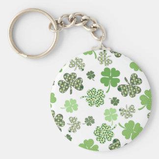 St. Patrick's Day Irish Green and White Clovers Basic Round Button Key Ring