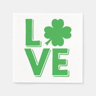 St. Patrick's Day Irish Love  Green Shamrock Disposable Napkins