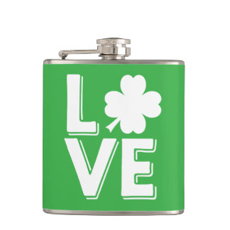 St. Patrick's Day Irish Love Green Shamrock Hip Flask