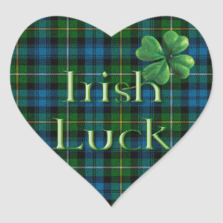 "St. Patrick's Day ""Irish Luck Tartan"" Heart Sticker"