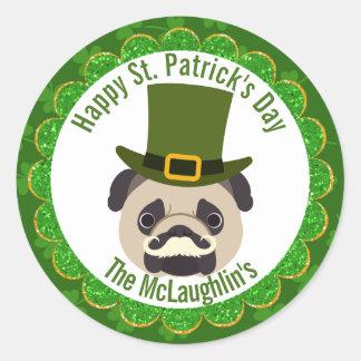 St. Patrick's Day Irish Pug Dog with Moustache Round Sticker