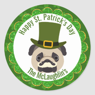 St. Patrick's Day Irish Pug Dog with Moustache Classic Round Sticker