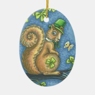 St. Patrick's Day IRISH SQUIRREL ORNAMENT Oval