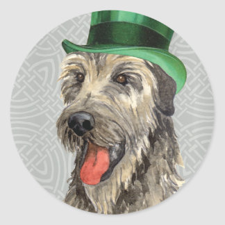 St. Patrick's Day Irish Wolfhound Classic Round Sticker