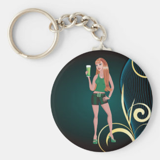 St. Patricks Day Irish woman with green beer Basic Round Button Key Ring