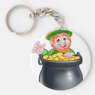 St Patricks Day Leprechaun and Pot of Gold Basic Round Button Key Ring