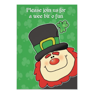 St Patrick's Day Leprechaun Baby Shower Invitation