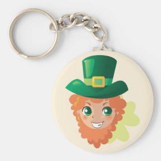 St. Patrick's Day Leprechaun Basic Round Button Key Ring