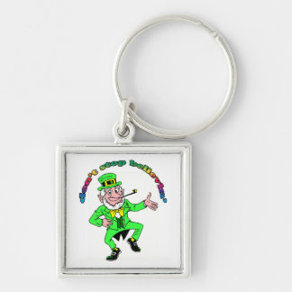 St. Patrick's Day Leprechaun Don't Stop Believing Silver-Colored Square Key Ring