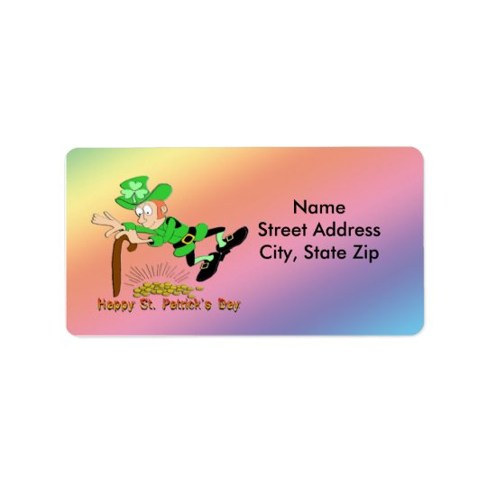 St Patrick's Day Leprechaun Gold Address Label