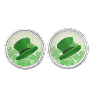 St Patricks Day leprechaun hat and shamrocks Cufflinks