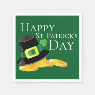 St. Patrick's Day Leprechaun Hat & Gold Coins Paper Napkins