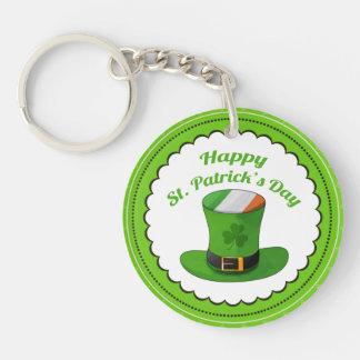 St. Patrick's Day Leprechaun Hat & Shamrock Clover Double-Sided Round Acrylic Key Ring
