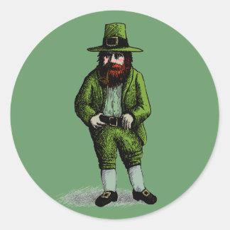 St. Patrick's Day Leprechaun Round Sticker