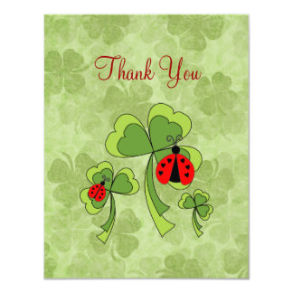 St. Patrick's Day Love Bugs Thank You Card 11 Cm X 14 Cm Invitation Card