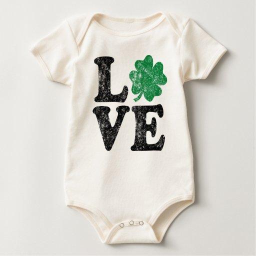 St Patrick's Day LOVE Shamrock Irish Baby Bodysuit