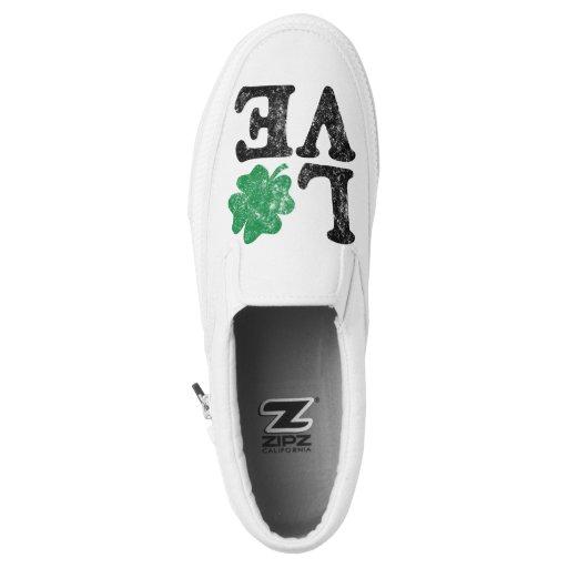 St Patrick's Day LOVE Shamrock Irish Slip-on Sneakers