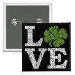 St Patricks Day LOVE with Irish Shamrock Button