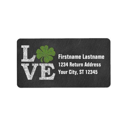 St Patricks Day LOVE with shamrock Address Label