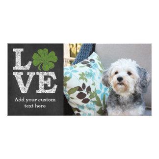 St Patricks Day LOVE with shamrock Custom Photo Card