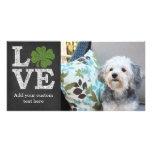 St Patricks Day LOVE with shamrock Photo Card
