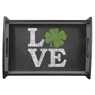 St Patricks Day LOVE with shamrock Serving Tray