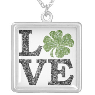 St Patricks Day LOVE with shamrock Silver Plated Necklace