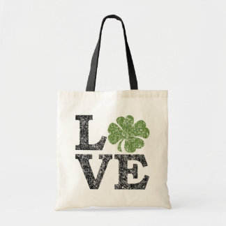 St Patricks Day LOVE with shamrock Budget Tote Bag
