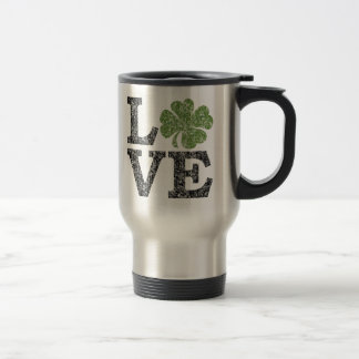 St Patricks Day LOVE with shamrock Travel Mug