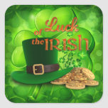 "St. Patrick's Day - Luck of the Irish"" Square Sticker"