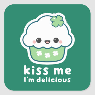 St Patrick's Day Lucky Cupcake Square Sticker