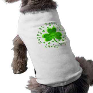 St. Patrick's Day Lucky Dog Name Sleeveless Dog Shirt