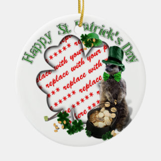 St Patrick's Day Lucky Meerkat Shamrock Frame Christmas Ornament