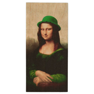 St Patrick's Day - Lucky Mona Lisa Wood USB 2.0 Flash Drive